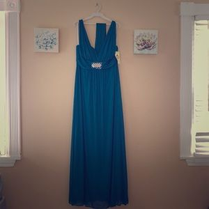 Teal dress with bedazzled waist sized 2XL US